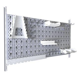 Werkzeugwand 23 teilig Lochwände 800x400 weißalu mit Haken