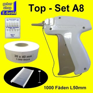 E-SetA8 Arrow 9F fein 5x Nadeln 1000 Fäden 50 + Etiketten