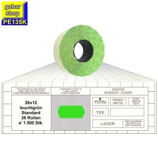 Preisetiketten 26x12 Standard leuchtgrün 36 Rollen