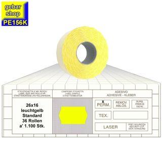 Preisetiketten 26x16 Standard leuchtgelb 36 Rollen