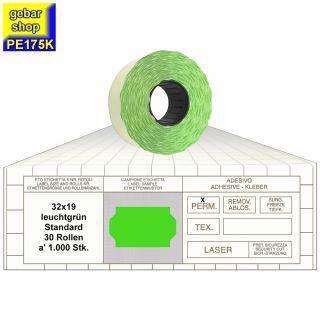 Preisetiketten 32x19 Standard leuchtgrün 30 Rollen