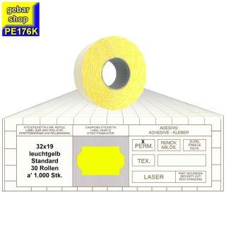 Preisetiketten 32x19 Standard leuchtgelb 30 Rollen
