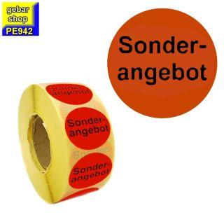 Aktionsetiketten Sonder-angebot Ø 32 leuchtrot 1.000