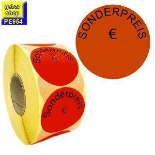 Aktionsetiketten SONDERPREIS Eurozeichen Ø 50 rot 1.000