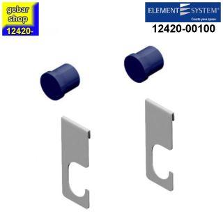 Element System Twin Rohrhalter+Endkappen Set weißalu Rundrohr