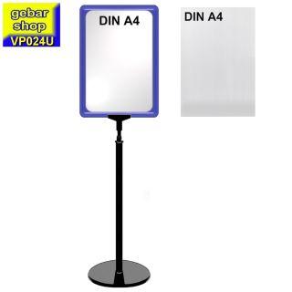 Plakatständer Set0 mit Rahmen U-Tasche DIN A4 blau
